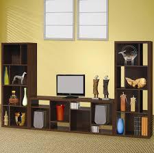 coaster dark oak contemporary asymmetrical bookcase 800276