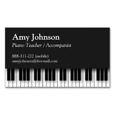 Business Card Music Elegant Modern Professional Piano Teacher Business Card Music