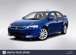 blue mitsubishi lancer 2010 mitsubishi lancer gts in blue front angle view stock photo