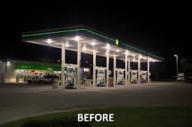 led gas station canopy lights manufacturers bp gas station goes green with induction lighting synergy lighting
