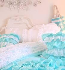 aqua ruffle comforter shabby cottage chic layers of dreamy aqua ruffles comforter set