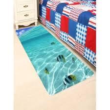 Fish Bath Rug Blue W24 Inch L71 Inch Coral Fleece 3d Fish Underwater Bath Rug