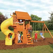 outdoor u0026 garden design chic cedar summit playset with gray slide