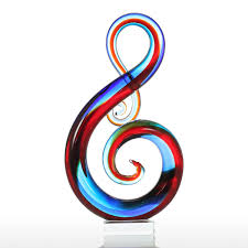 best and cheap multicolored tooarts music note glass sculpture