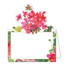 caspari cards caspari geraniums diecut place cards paperstyle