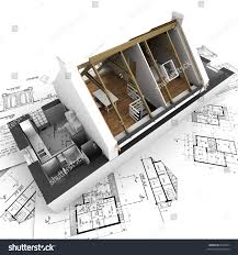 3d rendering roofless house on stock illustration 9033361