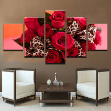 animal print furniture home decor home decor hd prints flowers pictures 5 pieces red roses bouquet