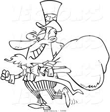 vector of a cartoon uncle sam grinning and carrying a money bag