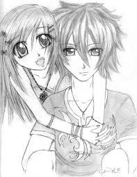 cute anime couple drawing