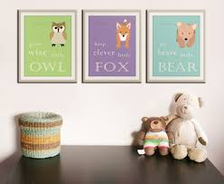 Nursery Decor Pictures by Be Brave Little Bear Grow Wise Little Owl Woodland Nursery