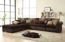 living room landscape view sectional black modern glass leg sofa