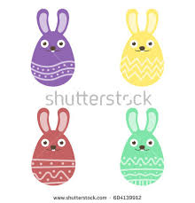 set easter bunny egg ornament pack stock vector 604139834