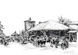 new paltz train station drawing by monica cohen