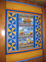 ideas for a panel quilt and nice borders tonka truck construction