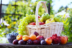 fruit basket fruit basket grape strawberry plum apple table summer food