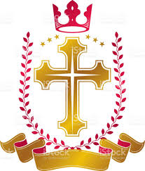 christian cross golden emblem created with royal crown laurel