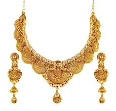 new gold set 22k gold traditional anique necklace and earrings set