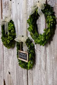 decorating natural green boxwood wreath for interior and exterior