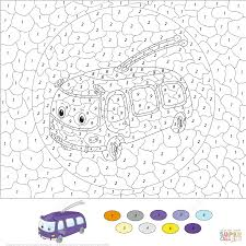 trolleybus color by number free printable coloring pages
