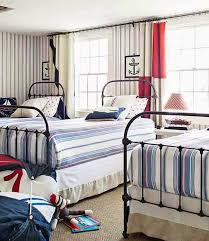 Wallpaper Nautical Theme - twin bedroom bed nautical theme stripe striped wallpaper iron bed