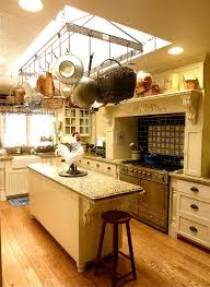 kitchen island with hanging pot rack bakers rack decor kitchen farmhouse with hanging pot rack medium