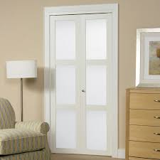 Solid Bifold Closet Doors Shop Reliabilt White 3 Lite Solid Tempered Frosted Glass