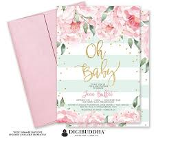 printable baby shower invitations oh baby shower invitation pink peony mint stripe it s a girl