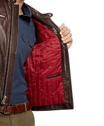 red leather motorcycle jacket brooks brothers leather motorcycle jacket in brown for men lyst
