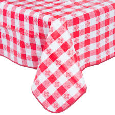 52 x 90 gingham vinyl table cover with flannel back