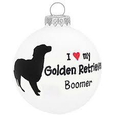 i love my golden retriever dog ornament christmas holiday glass