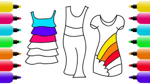 how to draw rainbow dresses coloring pages for girls art colors