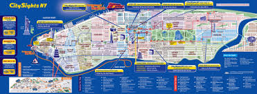 Usa Map New York City by Large Detailed City Sights Map Of Manhattan New York City New