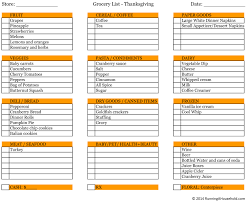 thanksgiving printable grocery shopping list festival collections