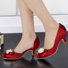 wedding shoes low heel pumps woman shoes ep100114 burgundy toe pearls rhinestone bow low