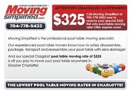 craigslist pool table movers charlotte lake norman huntersville pool table moving movers