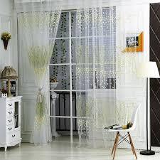 Half Door Curtain Panel Amazon Com Comemall Thin See Through Leaves Pattern Curtain