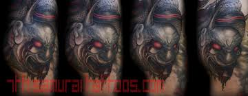 hannya mask samurai tattoo evil morbid noh hannya mask with blood red highlights kai 7th