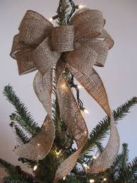 12 inch gold ribbon and burlap christmas tree topper with burlap