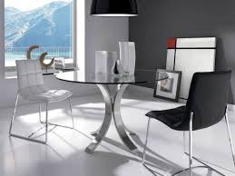 angel cerda contemporary round glass dining table opt chairs