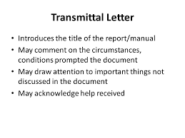 front matter transmittal letter front cover title page forward or