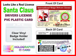 santa claus international drivers license printed on a pvc