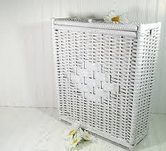 vintage white wicker u0026 wood rectangular hamper by divineorders
