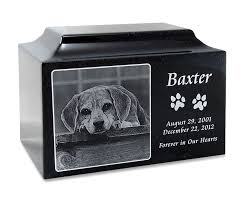 cremation urns for pets black granite large pet cremation urn with engraved photo