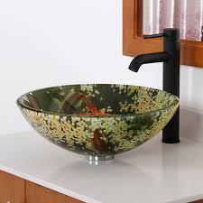 koi and lily pond glass vessel sink amazon com