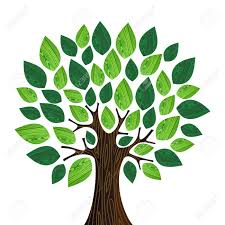 isolated eco friendly tree with green wooden leaves illustration