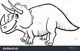 black white cartoon illustration triceratops prehistoric stock