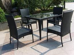 Glass Top Patio Table And Chairs Glass Top Wicker Dining Table Furniture Ideas