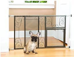 indoor outdoor adjustable metal scroll design pet gate with door