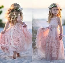 pink halter little girls party dresses 2016 chiffon ruffles flower
