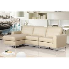 Reversible Cream Leather Corner Sofa - Cream leather sofas